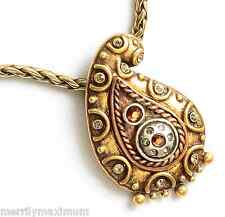 Chico's Signed Necklace Gold Tone Paisley Pendant Silver & Amber Crystal Accents