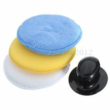 Set of 4 Microfibre Sponge Foam Polish Wax Cleaning Applicator Pads & Handle Car