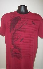 Mens Affliction Live Fast Short Sleeve Distressed Graphic T-Shirt~Red~Size XL