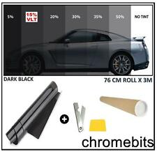"CAR VAN HOME WINDOW TINT FILM TINTING DARK BLACK SMOKE 15% 76cm x 3M  30X118"""