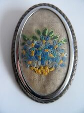 Vintage 40/50s FORGET ME NOT Embroidered Make do and Mend Large Brooch