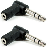 2x 6.35mm ¼ Stereo Jack Plug To 3.5mm Socket Adapter Right Angled 90 Degree Amp