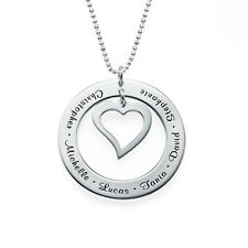 Love My Family Necklace in Sterling Silver 0.925 - Personalized (USA Seller)