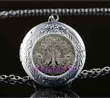 Celtic Wolf Tree Of Life Glass Tibet Silver Chain Locket Pendant Necklace