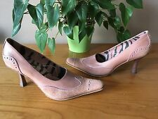 Ladies Irregular Choice dusky pink leather & suede court shoes UK 7.5 EU 41