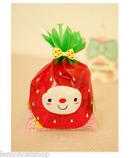 Strawberry Face cookie bags kawaii cello plastic bag sweet packaging gift wrap