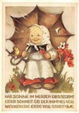 CHILD UMBRELLA EASTER CHICK GERMANY SIGNED HUMMEL POSTCARD NR. 5832 (DS) **
