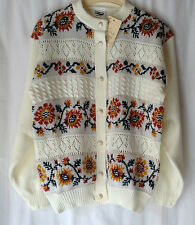 NEW WOMENS LADIES PLUS SIZE 14-16 COTTON BLEND FLORAL PATTERN KNITTED CARDIGAN