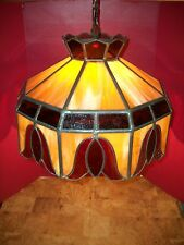 "Huge Vintage Leaded Stained Glass Swag Hanging  Lamp  21"" at  base"