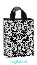 8x5x10 LOT 10 Frosted WHITE BLACK Plastic Bags Damask MEDIUM Gift CRAFT BAG M