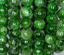 7-8MM CHROME DIOPSIDE GEMSTONE GREEN ROUND LOOSE BEADS 7""