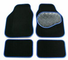 MG TF (02-05) Black & Blue 650g Carpet Car Mats - Salsa Rubber Heel Pad