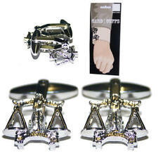 Silver Detailed Scales Of Justice Folding Cufflinks & Gift Pouch Judge Lawyer