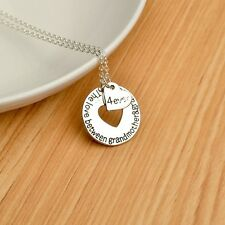 Rhodium SILVER Plated Grandmother Grandson Sentiment Dual Pendant Necklace