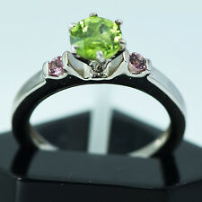 UNHEATED NATURAL PERIDOT&PINK TOURMALINE STERLING 925 SILVER  RING 5.5 US