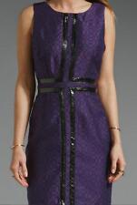 Anthropologie TRACY REESE dress US 12 / UK 16 purple wool leather fitted pencil