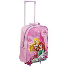 NEW OFFICIAL Disney Princess Girls Kids Wheeled Case Luggage Suitcase Travel Bag