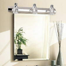 3-Light Wall Sconce Crystal Bathroom Mirror Light Fixture Chrome Chandelier Lamp