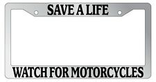 Chrome License Plate Frame Save A Life Watch For Motorcycles Auto Accessory