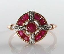 LOVELY 9CT 9K ROSE GOLD INDIAN RUBY DIAMOND ART DECO INS RING FREE RESIZE