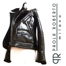 PAOLA ROBERTO MILANO Black Patent Leather Shearling Fur Biker Jacket