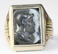 VINTAGE 1930'S 1940'S 14K WHITE ROSE YELLOW GOLD TWIN CAMEO MENS RING SIZE 9