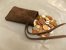 Medieval/Larp/SCA/Reenactment Mink Brown Leather DRAWSTRING MONEY POUCH/ BAG