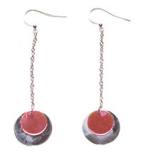Sublime- Translucent Pink & Chrome Circles & Long Chrome Chain Earrings(Zx145)