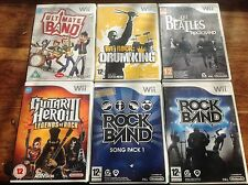 Guitar Hero Rock Band Bundle 6X Nintendo Wii leyendas 3 Tambor canción Pack Beatles