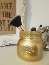 Painted Gold Mason Ball Jar - Perfect for Home Decor