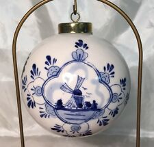 Rare Delft Blue & White XL Large Ball Christmas Ornament WINDMILL Floral NEW