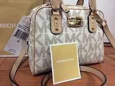 NWT MICHAEL KORS $268 SAFFIANO SIGNATURE VANILLA MINI SATCHEL CROSSBODY BAG