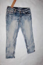 JR Womens AMETHYST CROPPED SKINNY JEANS Capris LOW RISE Bleached Out Hege SIZE 7