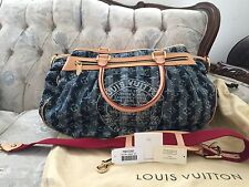 100% AUTHENTIC LOUIS VUITTON DENIM CABAS RAYE GM LARGE SHOULDER PURSE