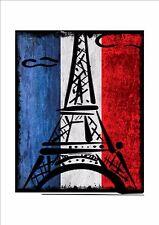 FRANCIA Bandiera francese di età compresa la PLACCA IN METALLO STILE VINTAGE BANDIERA FRANCESE segno segno di Parigi