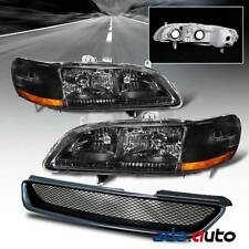 1998-2002 Honda Accord 2Dr Coupe [JDM Black] Headlights+Type-R Grille Combo