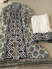 Designer Coat Style Kurti Block print Sz M Latest Style Pakistani Palazzo Pants