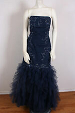 Strapless Ruched BLUE MERMAID GOWN prom dress Pageant size 14 Camille La Vie