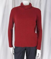Eileen Fisher sz PL Dark Red Merino Wool LS Ribbed Turtleneck Pullover Sweater