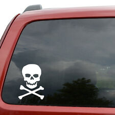 "Pirate Jolly Roger Skull Car Window Decor Vinyl Decal Sticker- 6"" Tall White"
