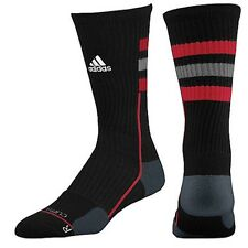 ADIDAS Men's Team Speed 1 Pair Crew Socks Black Red Grey Striped - Mens XL 12-16