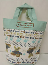 White/Green Lovely Bear Printed Girl Causal Hand Bag w/tag(Free postage)
