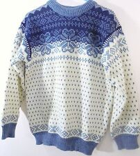 New Dale of Norway Womens XL Fair Isle Nordic Ski Sweater Blue Pure New Wool NWT