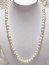 "Natural!7-8mm White Akoya Cultured Pearl Necklace 25""AAF+4F"