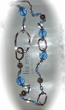 """NWT LIA SOPHIA 40-43"""" *AIRESS* NECKLACE - BLUE CRYSTALS/SILVER FILIGREE - $68"""