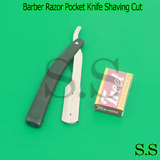 "6"" Straight Blade Barber Razor Pocket Knife Shaving Cut Throat Stainless Quality"