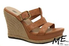 New UGG Australia Hedy Emboss Wedge Women Leather Sandals Size 10