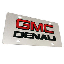 3D GMC DENALI LOGO Metal Mirror Finish Stainless Steel License Plate Sign Tag