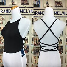 New!! brandy melville black stretchy Criss Cross Open back crop tank top NWT