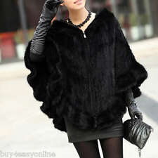NEW Unique Farm Real Knitted Mink Fur Shawl/Wraps/Cape Hoody Poncho Black